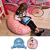 DaMeru EUROPEAN MADE Lab Tested Extra Large Stuffed Animal Storage Bean Bag Cover | The Ultimate Storage Solution To Clean Up & Organize Kid's Room | Free E-Book (Pink)