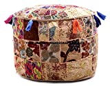 Indian Patchwork Pouf Cover Indian Living Room Pouf, Decorative Ottoman,Embroidered Designer Ottoman, Home Living Footstool Chair Cover, Bohemian Ottoman Pouf Decor ''Handicraft-Palace''