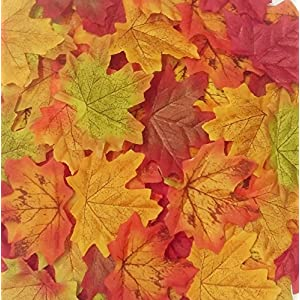 Senswalan Artificial Maple Leaves,500 pcs Rich Fall Colored Leaves 10 Color Multicolor Mixed Weddings Decorations Christmas Party 95