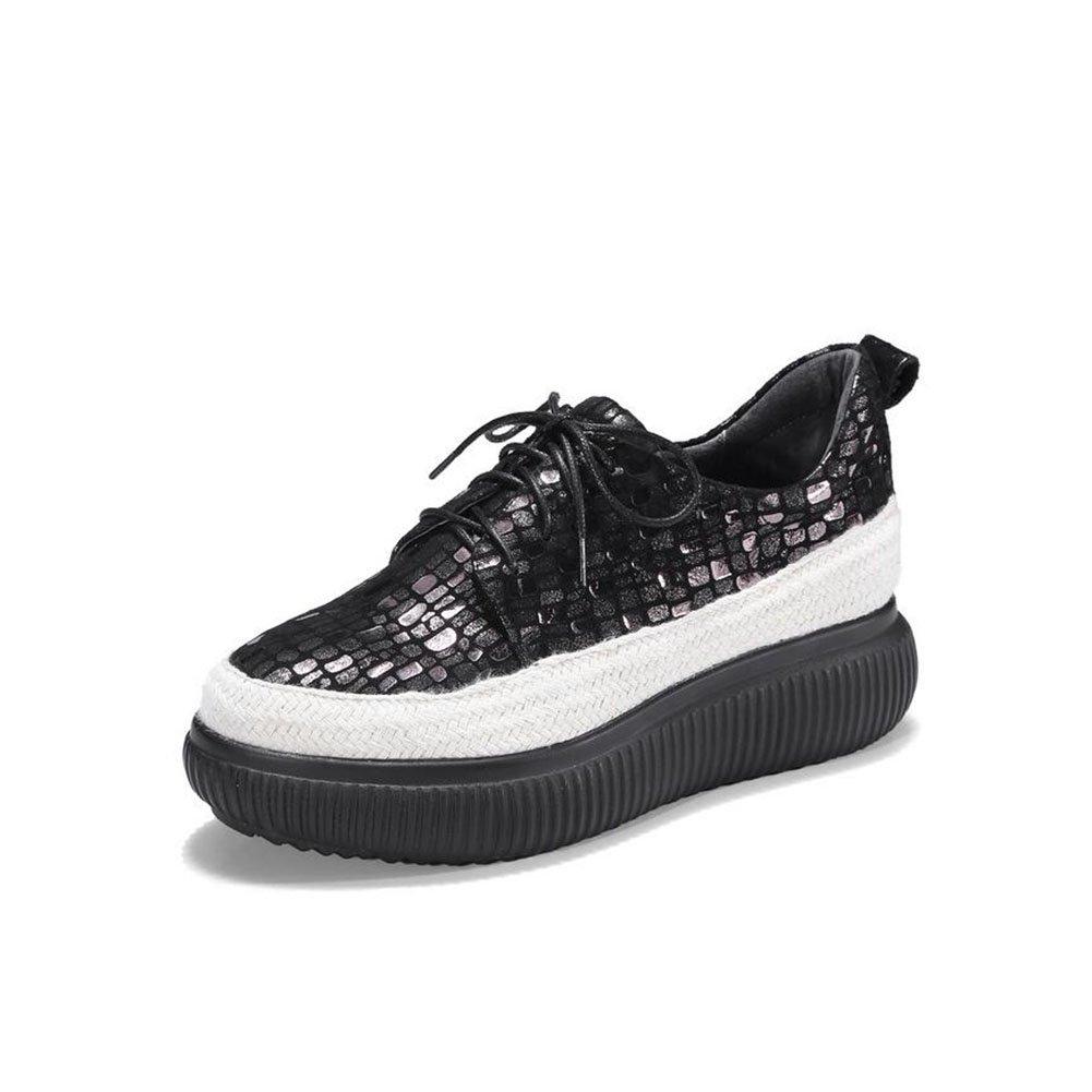 CAI Beiläufiger Frühling der Frauen Sommer und Fall-Leder-Plattform-Schuhe Starke untere Kuchen und zufällige Schuhe (Farbe   Schwarz Größe   35)