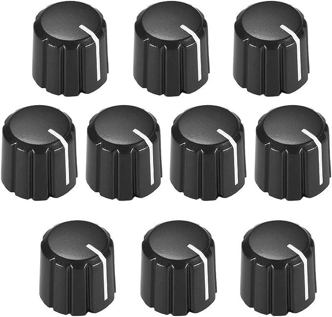 5pcs D type 6mm Potentiometer Control Knobs For Guitar Volume Tone Knobs Black