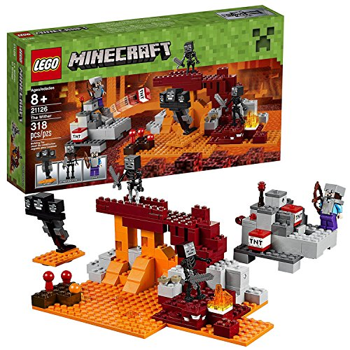 Lego Year 2016 Minecraft Series Set #21126 - THE WITHER with TNT Cannon, Fortress Plus 3 Head Wither, Steve and 2 Skeletons Minifigure (Pieces: 318)