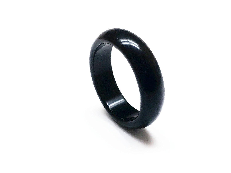 Feixingjewelry Natural Black Obsidian Ring Couple Black Ring Unisex Ring Promise Ring HOHO 5368
