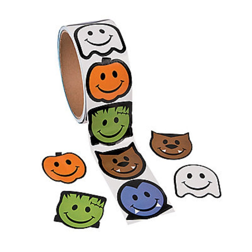 1 Roll ~ Monster Smile Face Stickers ~ 100 Stickers Total ~ Approx. 1.5