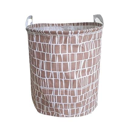 Cesta de lavandería redonda, Lona impermeable sábanas ropa de lavandería cesta de almacenamiento cesta plegable