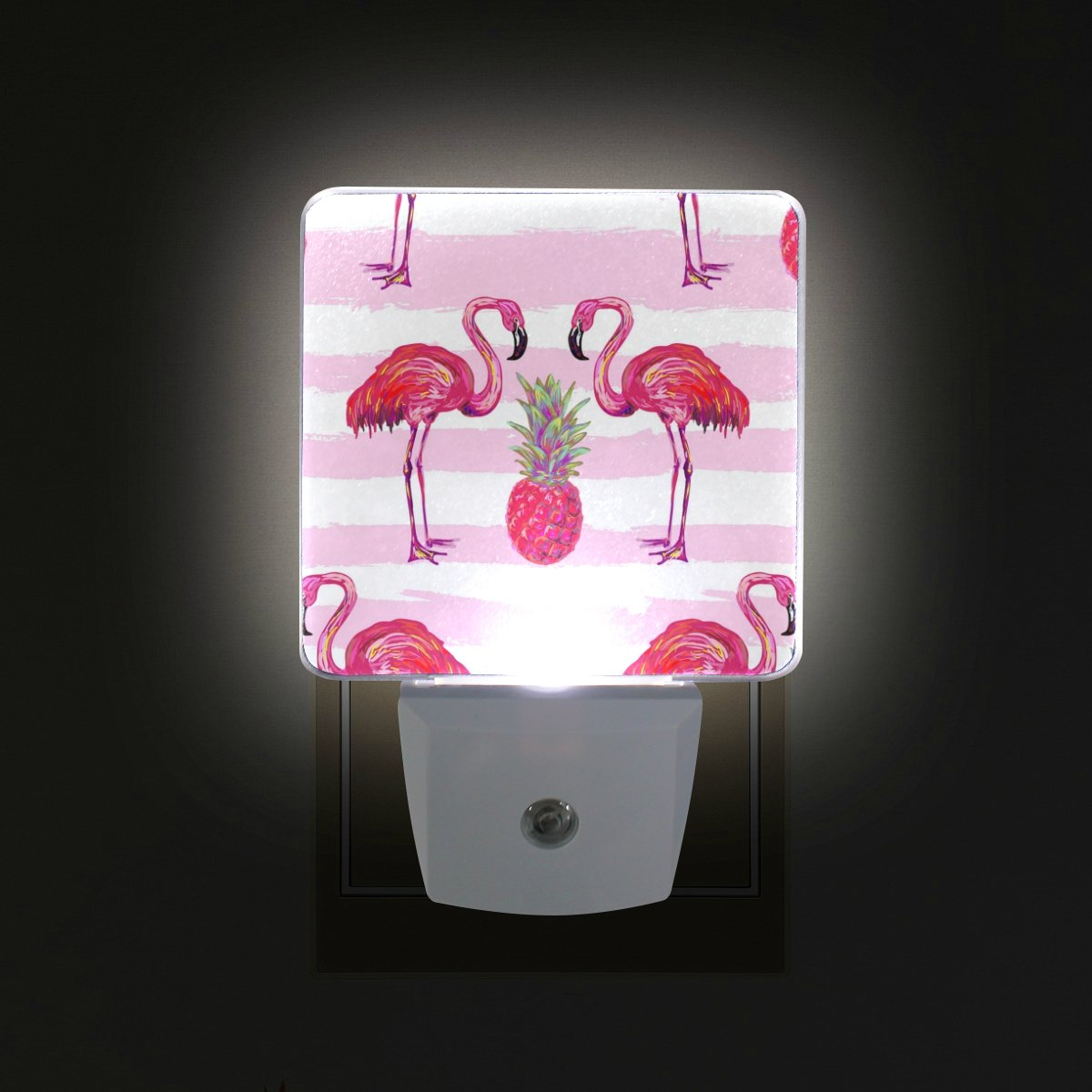 GIOVANIOR Summer Tropical Flamingo Pineapple Pink Plug in Dusk to Dawn Light Sensor LED Night Light Wall Light for Bedroom, Bathroom, Hallway, Stairs, Energy Efficient