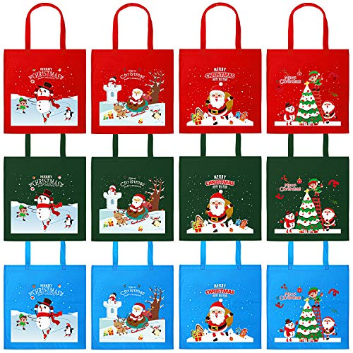 Elcoho 12 Pieces 15.75 by 15.75 Inches Christmas Non-Woven Bags Party Large Bags Tote Treat Bag with Handles for Party Favors, 4 Colors (Reusable Shopping Bags Christmas)