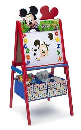 Mickey tableau enfant chevalet double face en bois avec rangement ...
