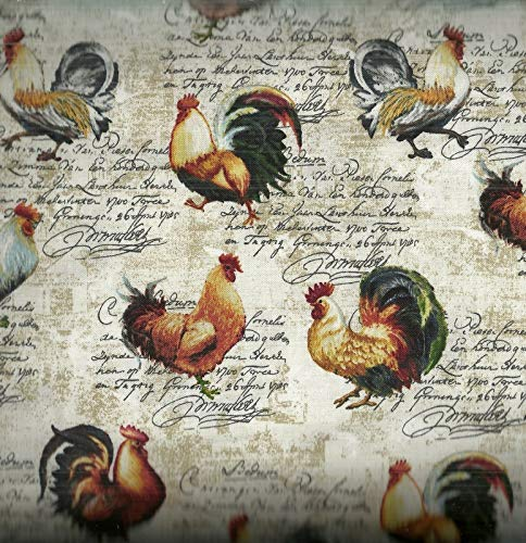 (Studio E Fabrics Farmer's Market Roosters Toss Fabric, 1, Cream, Fabric by the Yard)