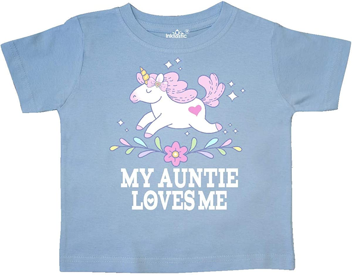 inktastic My Auntie Loves Me Unicorn Toddler T-Shirt