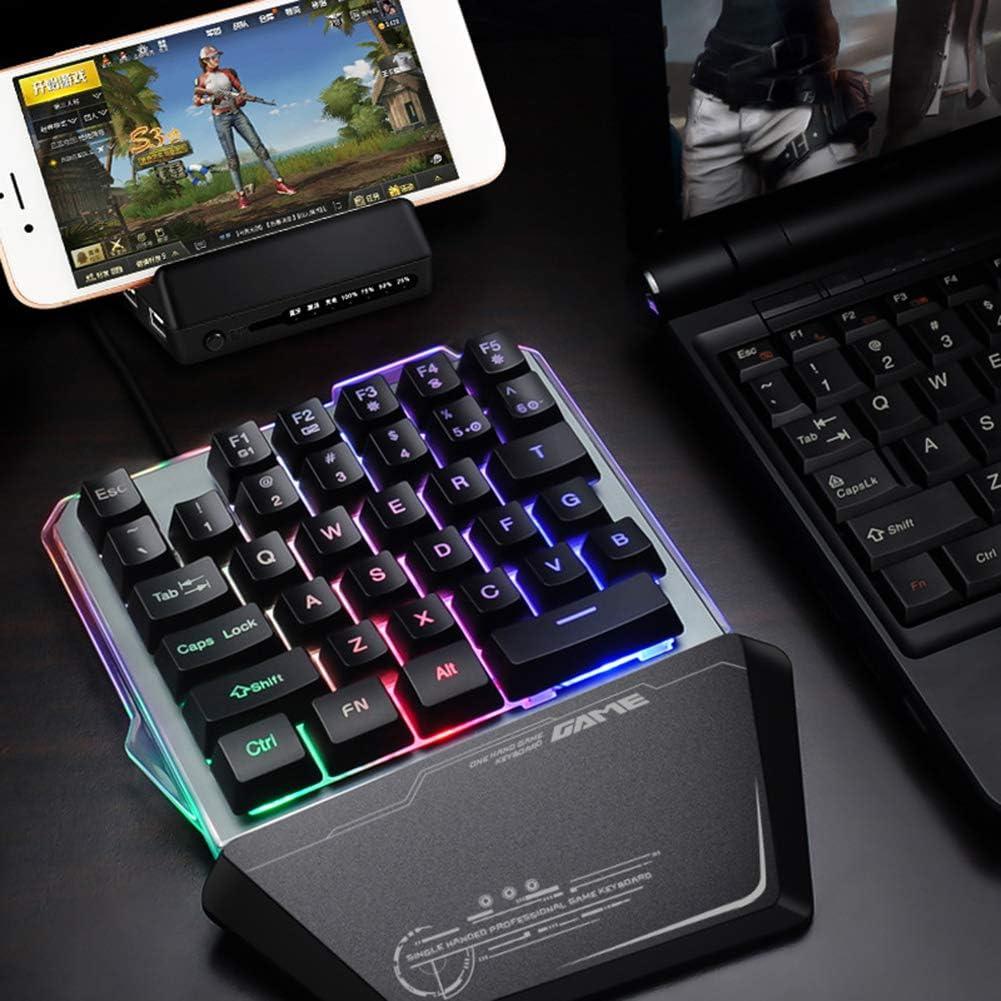 haixclvyE G40 35 Key RGB Backlight Mechanical Keyboard One Hand Gaming Keyboard for PC Laptop