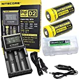 Nitecore D2 Digicharge universal home/in-car battery charger, Two Nitecore RCR123 NL166 650mAH rechargeable batteries with EdisonBright BBX3 battery carry case (Charger for Li-ion, IMR, LiFePO4 26650 22650 18650 17670 18490 17500 18350 16340 RCR123 14500 10440 Ni-MH And Ni-Cd AA AAA AAAA C Rechargeable Batteries)