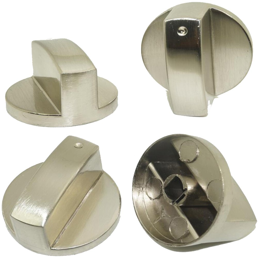 (Pack of 4) Stainless Steel Zinc Alloy - Round Gas Stove Knobs Cooker Oven Hob Control Switch/Kitchen Locks Oven Cooktop Rotary Switch - Fits Hole Size is 0.8x0.6cm