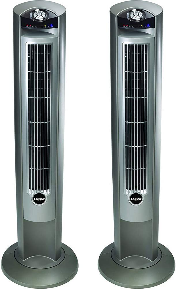 Lasko 2551 Wind Curve Platinum 42-Inch 3-Speed Tower Fan with Remote Control 2 Pack