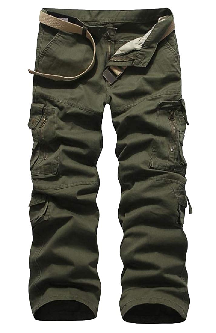 YUNY Mens Relaxed Mid Waist Rugged Cargo Trousers Green 32