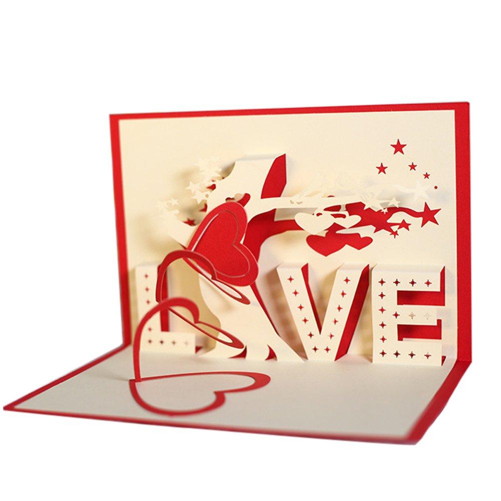 iodvfs Arte di carta Cuore d'amore Albero Apparire Biglietto d'auguri, Regalo di compleanno Festival romantico