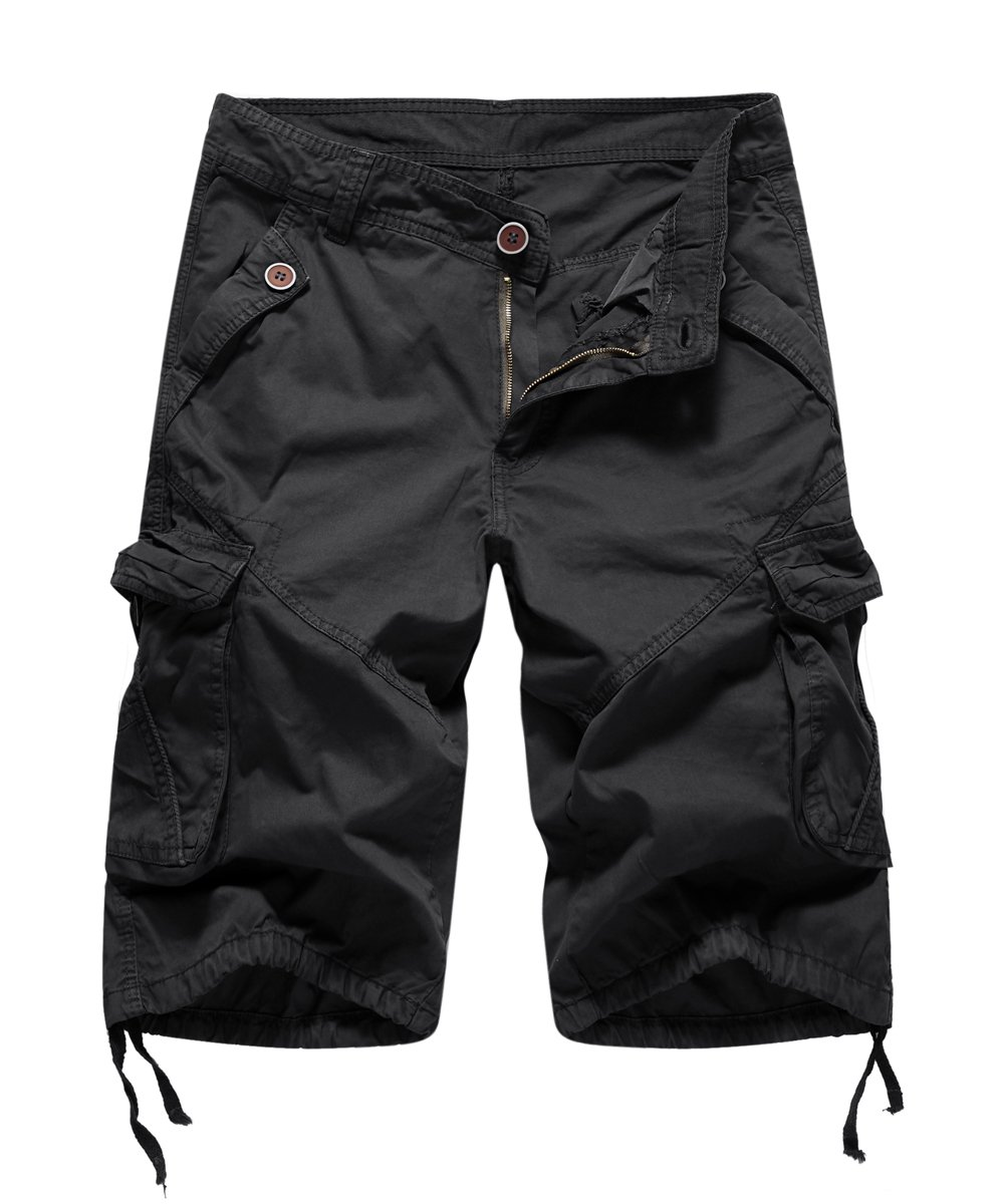 FOURSTEEDS Women's Casual Loose Fit Multi-Pockets Camouflage Twill Bermuda Cargo Shorts Black US 18
