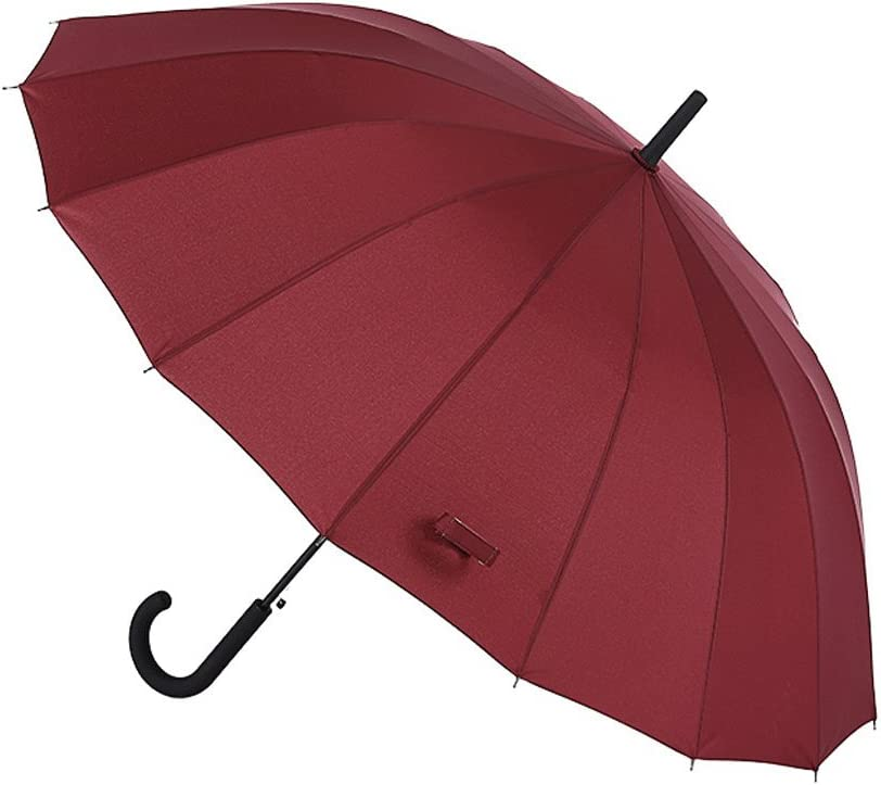 32 Inches Auto Open Umbrella Long Umbrella with 16 Ribs Durable and StrongEnough for The Fierce Wind and Heavy Rain Color : A