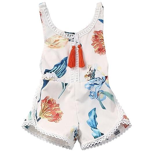 3e68f5f4912f Amazon.com  Youthful Baby Girl Tassel Jumpsuits
