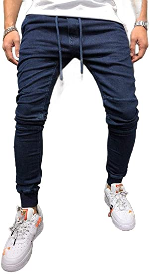 cheelot Men's Stretch Stitch Relaxed Fit Harem Stonewashed Slim Fitted Jeans
