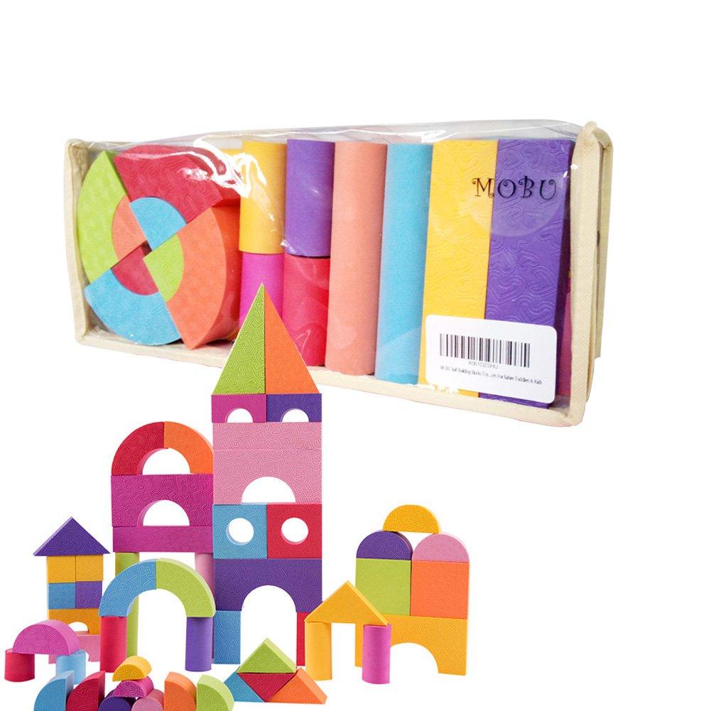 MOBU Soft Building Blocks Toys 50 Pieces Creative Safe Bright Color EVA Foam Brick Set Educational DIY Foam Building Blocks For Toddlers Babies& Kids