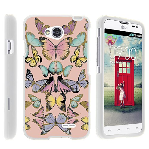LG Ultimate 2 Phone Case, Full Body Armor Snap On Hard Case Protector Cover with Customized Design for LG Optimus L70 MS323, LG Optimus Exceed 2 VS450PP, LG Realm LS620, LG Ultimate 2 L41C (Metro PCS, Verizon, Boost Mobile) from MINITURTLE | Includes Clear Screen Protector and Stylus Pen - Butterfly Symmetry