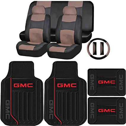 Gray Black Car Seat Covers for Auto w//Steering Cover//Belt Pads//Floor Mat