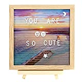 2018 New Beach background Felt Letter Board 10x10 Inches-Changeable Message Board-Changeable Letter Board.Includes 320 Changeable Pre-Cut Letters, Canvas Bag and Adjustable Wood Stand