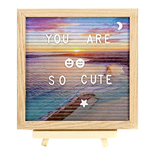 2018 New Beach background Felt Letter Board 10x10 Inches-Changeable Message Board-Changeable Letter Board.Includes 320 Changeable Pre-Cut Letters, Canvas Bag and Adjustable Wood Stand by PIeng
