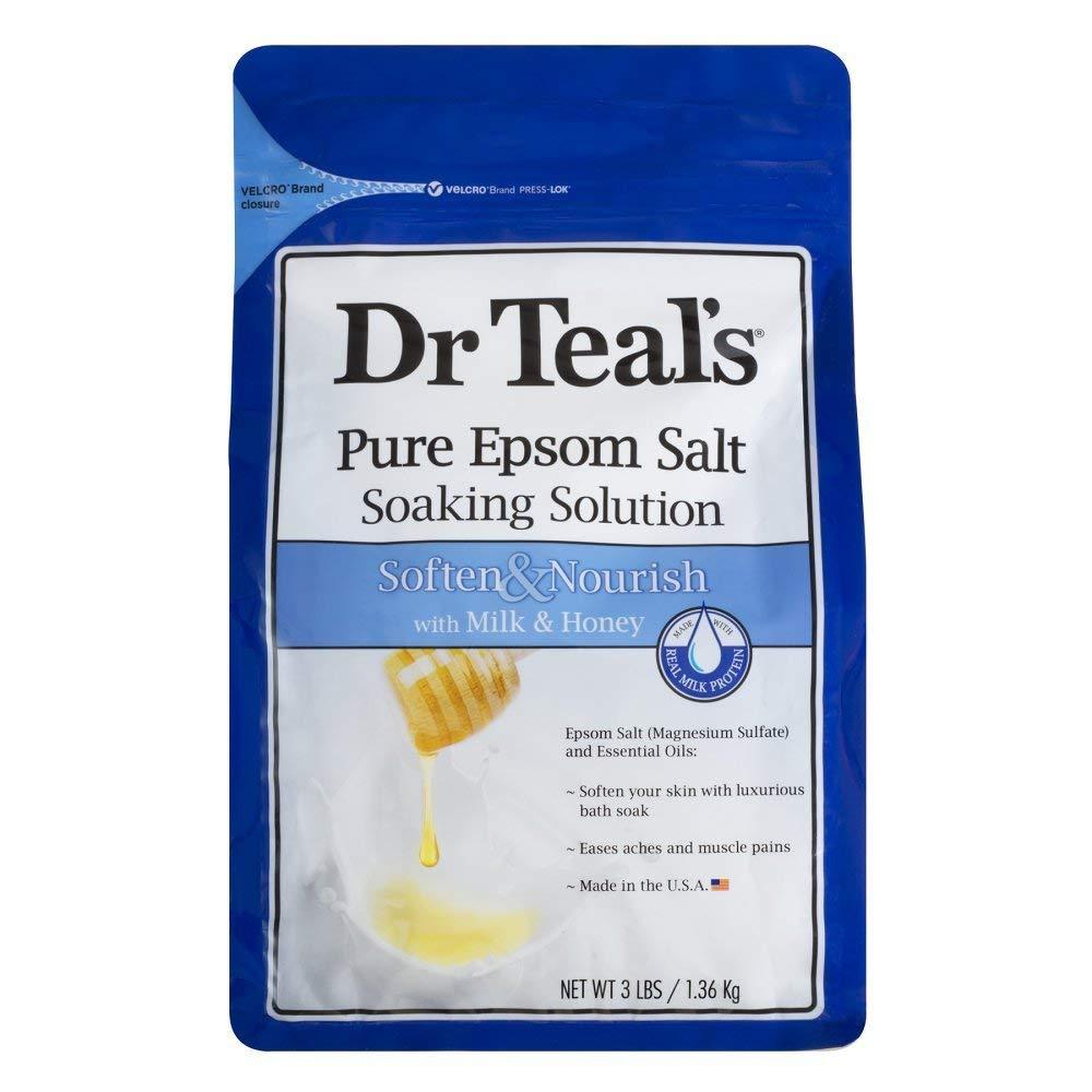 Dr. Teal's Epsom Salt Soaking Solution, Soften & Nourish with Milk and Honey, 48oz Dr. Teals 04197-4PK