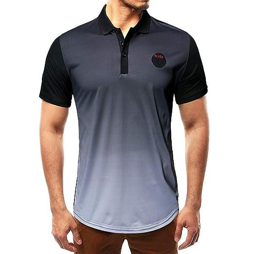 be61f48dd Fashion Men's Short Sleeve Gradient Ramp Shirts Casual Formal Slim Fit  Shirt Top, MmNote Black