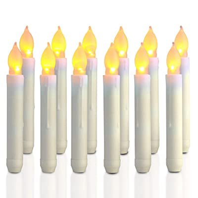 Homemory 12PCS Flameless LED Taper Candles Lights, Battery Operated Candlesticks with Warm Yellow Flickering Flame, 0.79 x 6.9 Inch DriplessFake Floating Taper Candles: Home & Kitchen