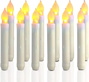 Homemory 12PCS Flameless LED Taper Candles Lights, Battery Operated Candlesticks with Warm Yellow Flickering Flame, 0.79 x 6.9 Inch Dripless Fake Floating Taper Candles