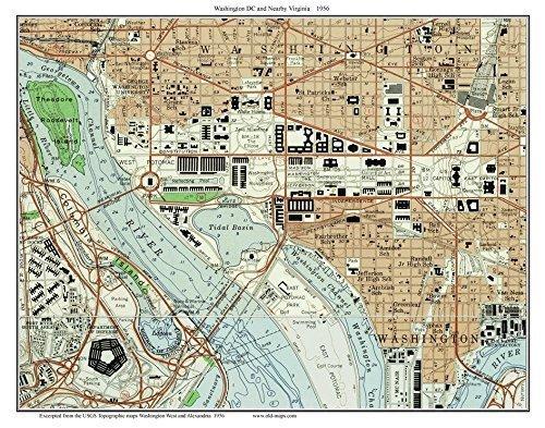 Amazoncom Washington DC Downtown 1956 Old Topographic Map USGS