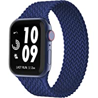 Adepoy Silicone Solo Loop Bands Compatible with Apple Watch Band 38mm 40mm 42mm 44mm, Stretchy Silicone Braided Elastic…