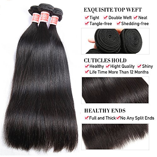 Pizazz 8A Brazilian Straight Hair 16 18 20 and 14 inch Lace Frontal Closure with Bundles Natural Black Straight Human Hair Weave 3 Bundles With Closure by Pizazz (Image #3)