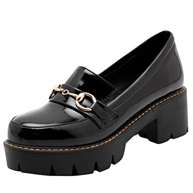 Show Shine Women s Casual Slide Pumps Chunky Heel Loafers Shoes (4.5
