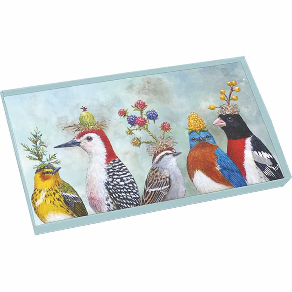 Paperproducts Design Gift Boxed Glass Tray with Beautiful Bird Design, 10.5 x 6 x 1'', Multicolor