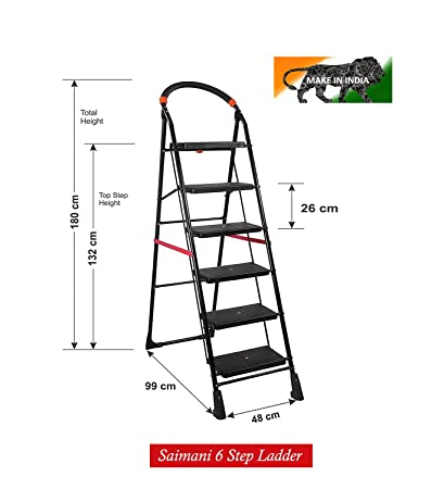 TRENDY Iron Cameo Pro 6 steps Folding step Ladder with Load Capacity upto 150 kg Anti-Skid PVC Shoe, Clutch Lock and Knee Guard (Black)