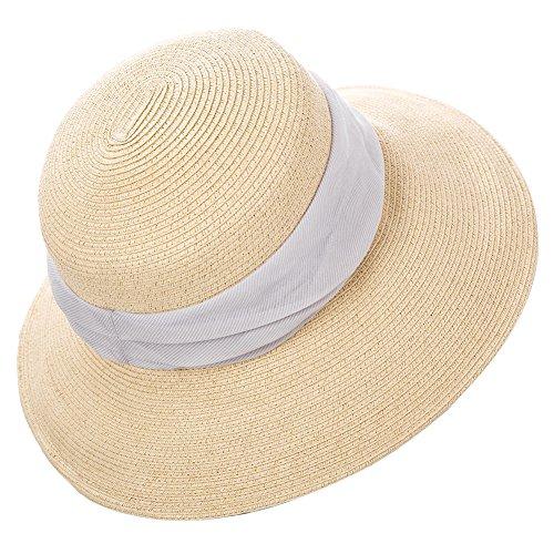Siggi Womens Foldable Straw Cloche Panama Floppy Summer Beach Sun Hat Wide Brim Beige