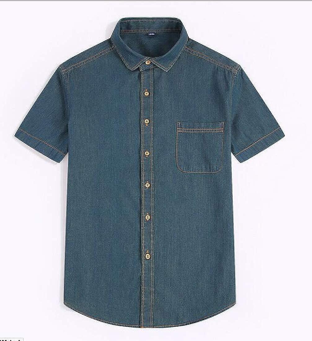 Cromoncent Mens Jean Pocket Casual Short Sleeve Lapel Button-Down Shirts