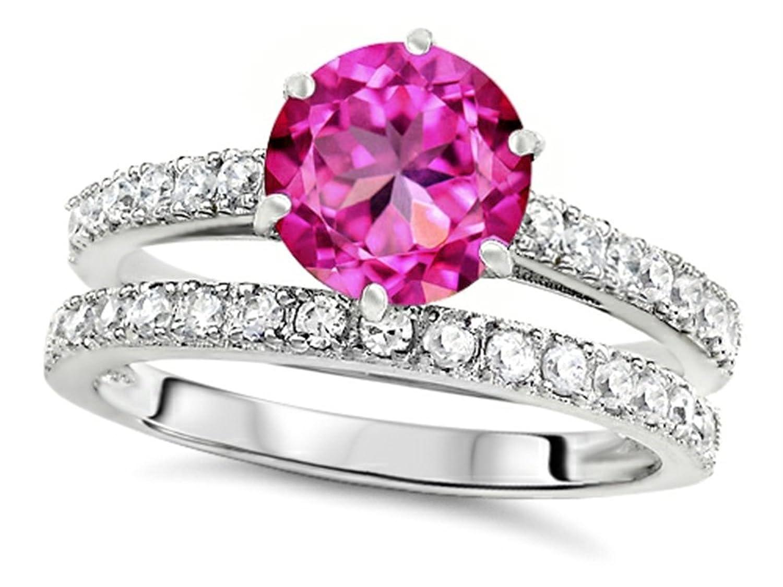 Amazon.com: Star K Round 7mm Created Pink Sapphire Wedding Ring Size ...