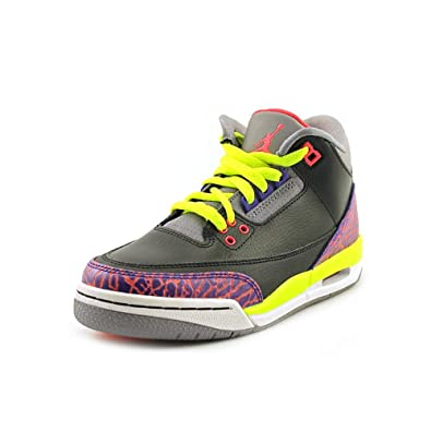 huge discount 07a6e ae2cd Nike Girls Air Jordan 3 Retro GS Black Atomic Red Volt (441140-039)