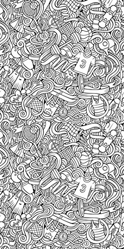 """Canvas On Demand Olga Kostenko Removable Wallpaper Tile for Coloring, 24"""" x 48"""", entitled 'Sports I'"""