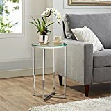 Glass Coffee Table in Living Room WE Furniture AZF16ALSTGCR Glass Side Table, Glass/Chrome