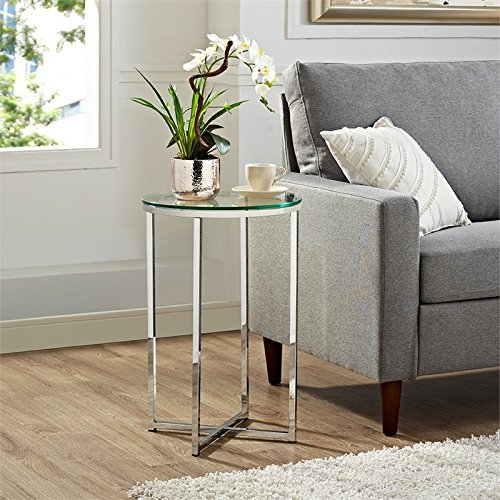 WE Furniture AZF16ALSTGCR Glass Side Table, Glass/Chrome