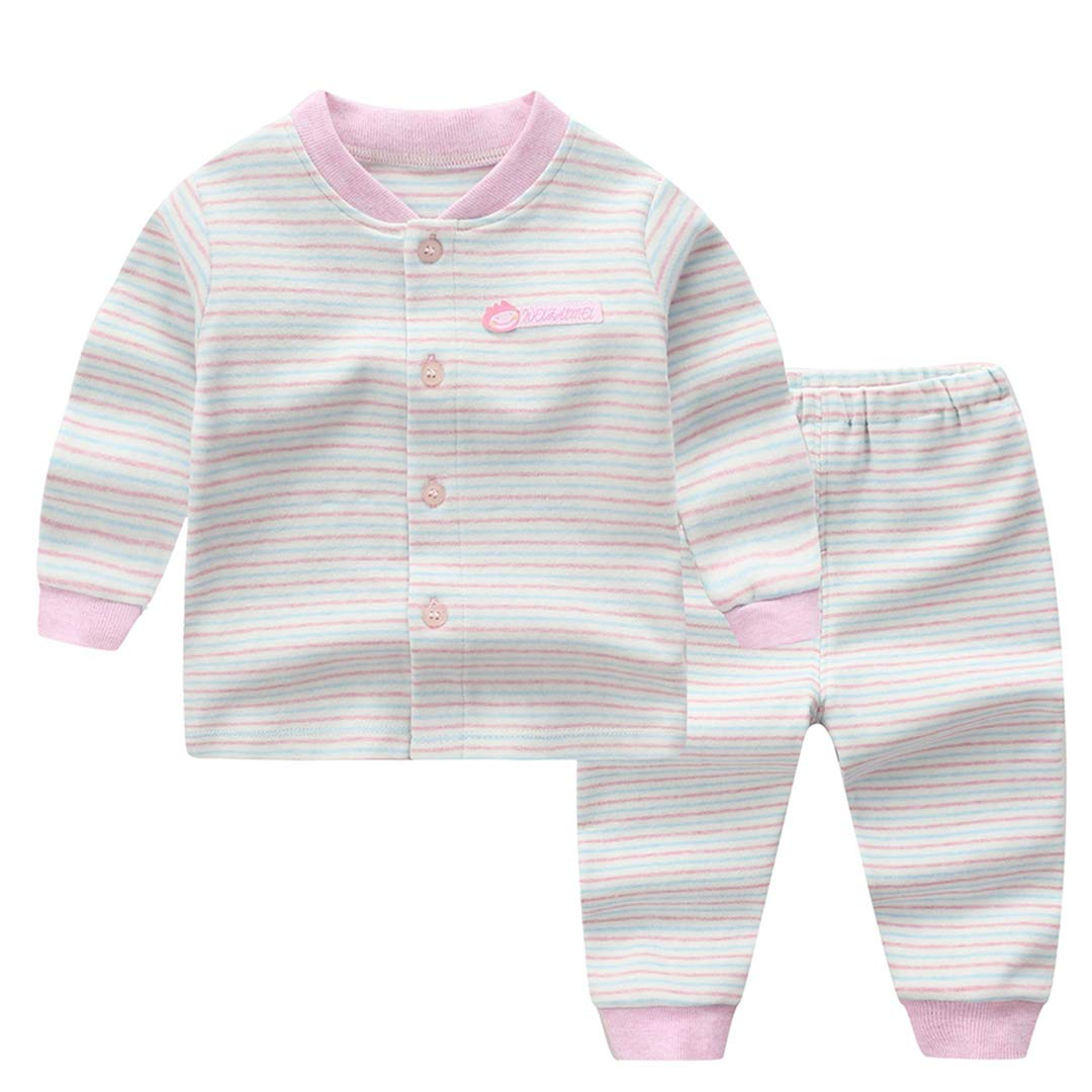Mornyray Infant Baby 2Pcs Stripe Pajamas Set Long Sleeve Sleepwear Elastic Outfit