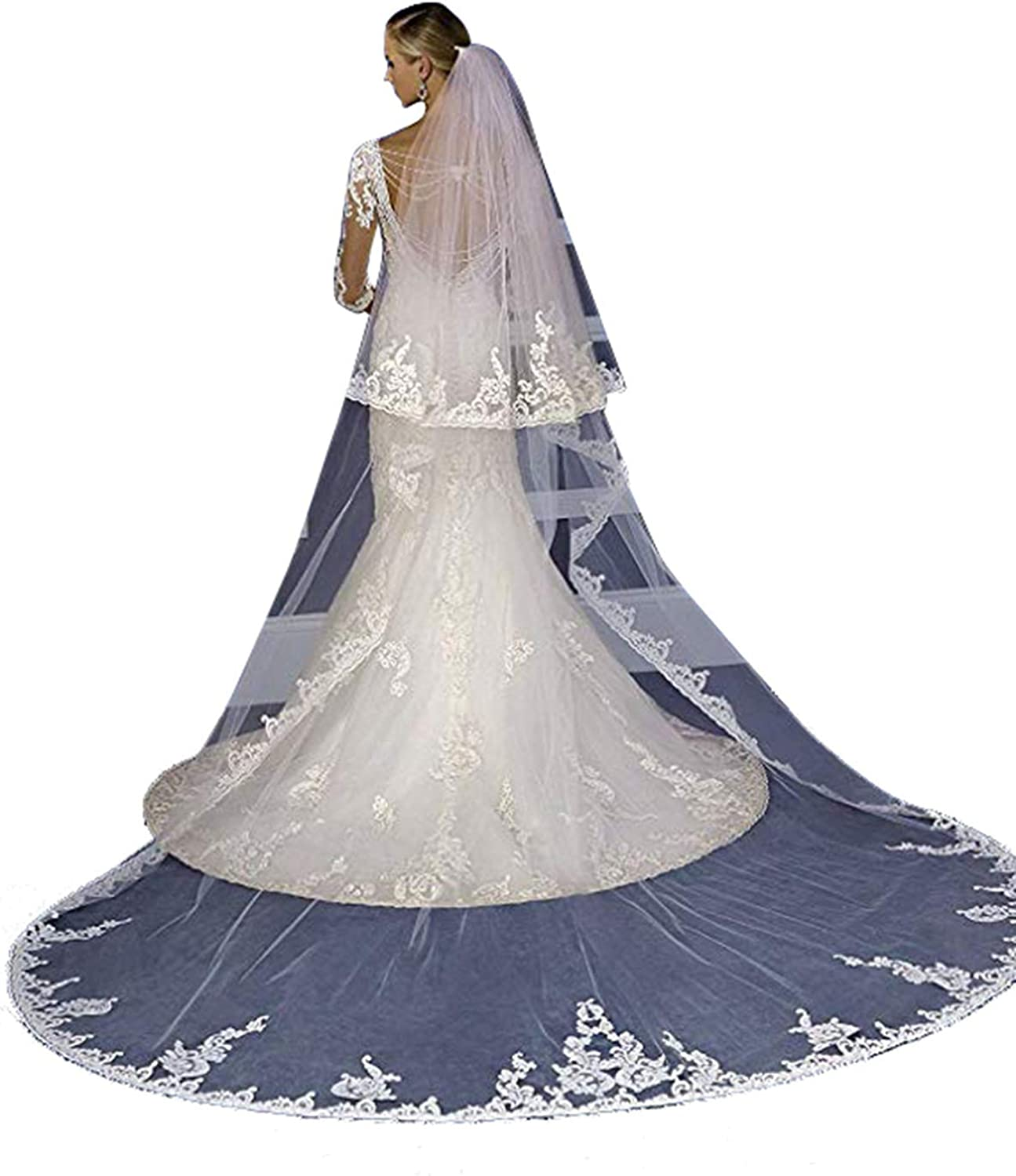New Bridal Veil 3 M 4M Cathedral Wedding Veils 2T White Lace Edge With Comb