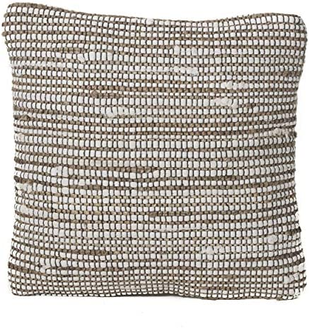 Christopher Knight Home Vanda Hemp and Cotton Chindi Pillow, 17 , Natural Ivory