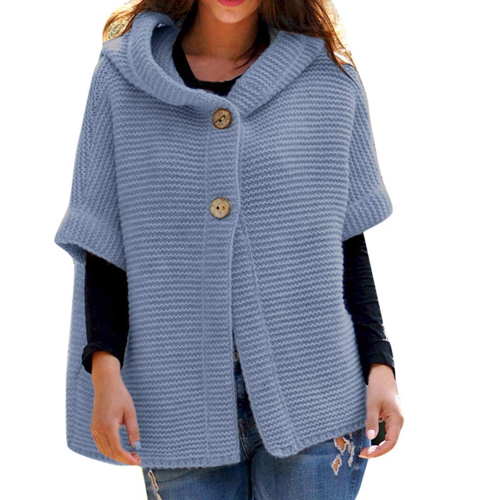 Women's Hoodies Sweater Coat,Ladies Casual Solid Half Sleeve Knit Button Outwear Lightweight Winter Tops by cobcob woemn's coat